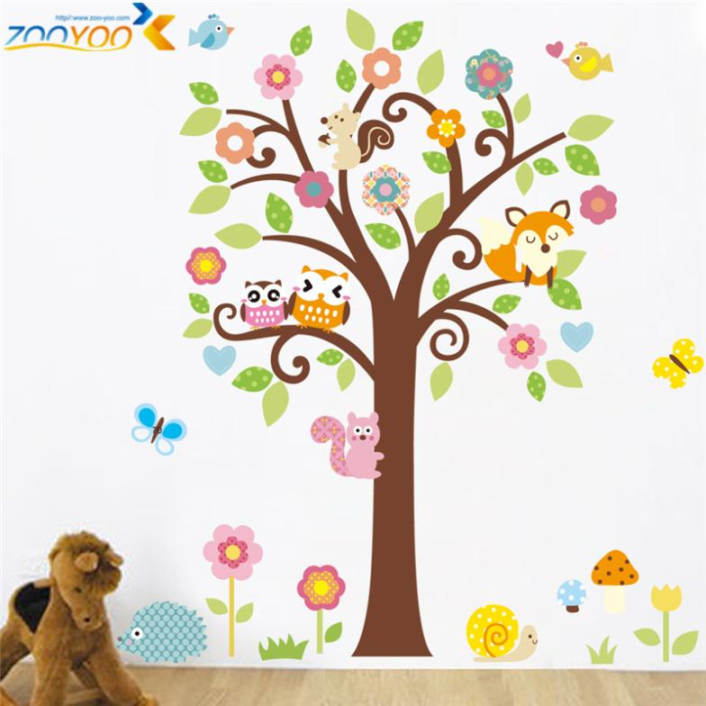 Гаджет  wise owls on colorful tree wall stickers for kids rooms ZooYoo1015 decorative adesivo de parede removable pvc  wall decal None Дом и Сад