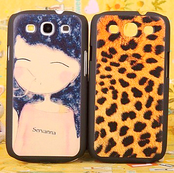 Embossed for samsung phone case i9300 i9308 protective case protective case leopard print girl shell