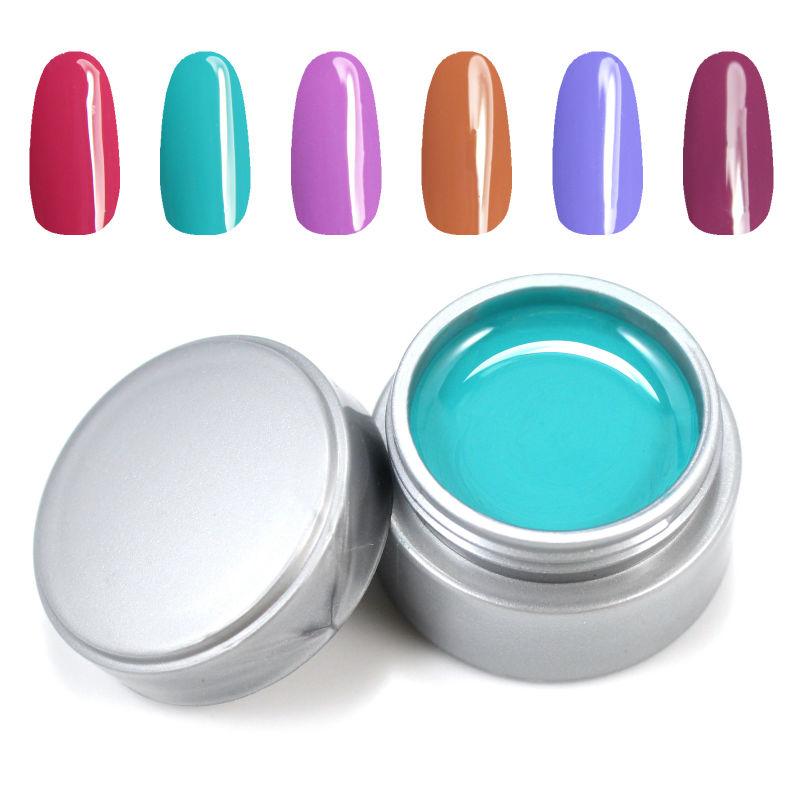 Gel Len Color UV Gel Nail Art Decoration 6pcs/lot Solid Pure UV Builder Gel Set DIY Nail Art Paint(China (Mainland))