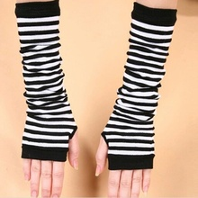 Warm Women Knit Sleeves Winter Fingerless Gloves Striped Gloves Long Arm Warmers XL34(China (Mainland))