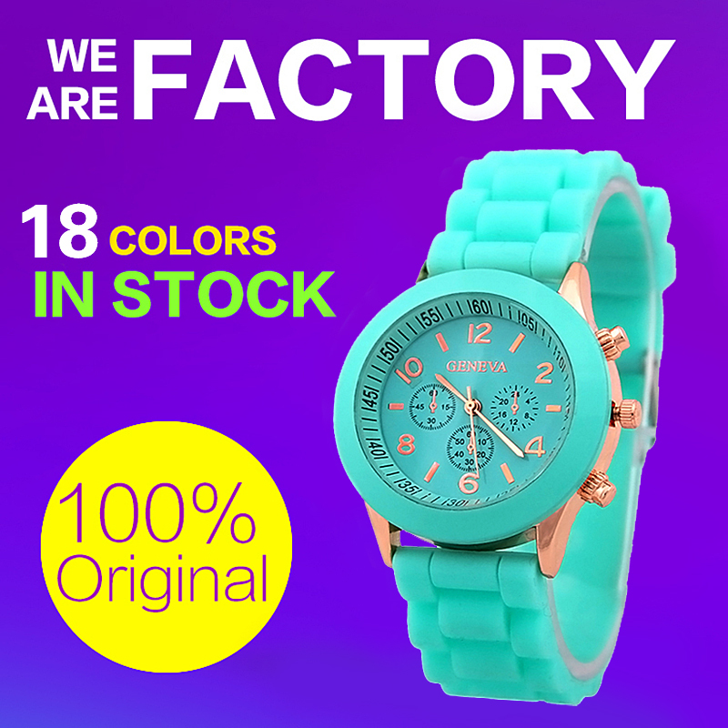 Hot 2015 selling women geneva colorful silicone jelly wristwatch Three circles Display gold frame candy band quartz watches B019(China (Mainland))