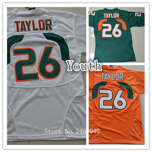 2016 New Kids 26# Sean Taylor Orange Green White Color Youth College Football Jerseys(China (Mainland))