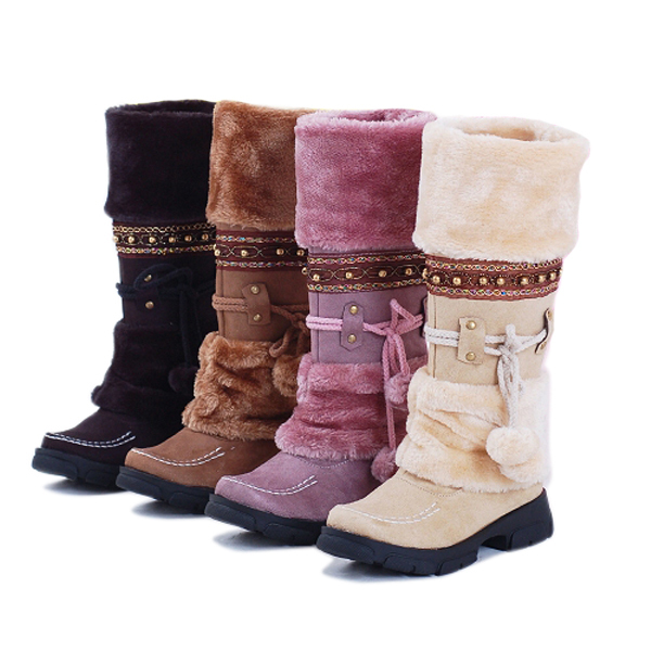 Women Lace Up Fur Lined Winter Warm Flat Knee High Snow Boots Ski Snow Shoes(China (Mainland))