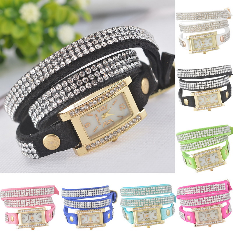 Hot Korean Velvet Diamond Dial Women Bracelet Watch Rhinestone Wrist Gold Square With Battery New Fashion Women Jewelry 1PC(China (Mainland))