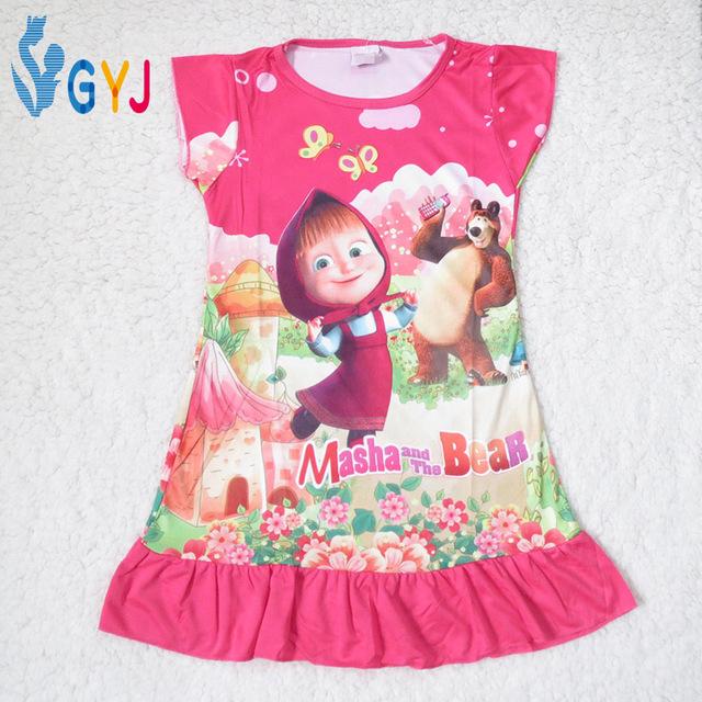 girls night dress masha and the bear pyjama masha kids pajamas girls sleep night dress Cartoon cotton night dress for children(China (Mainland))