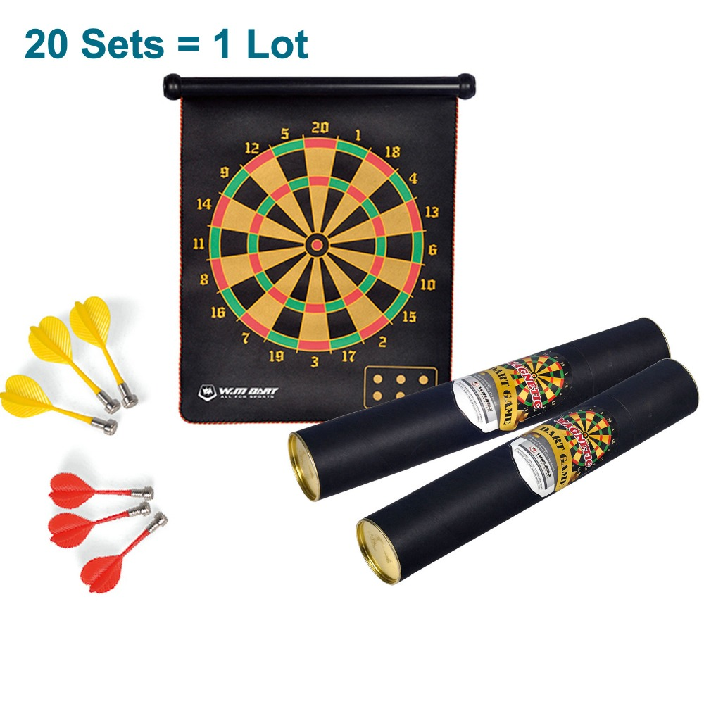 20 Sets Magnetic Dartboard 15 inches  W/ 6 Darts  Double Sided Hanging Dart Board Set Wholesale