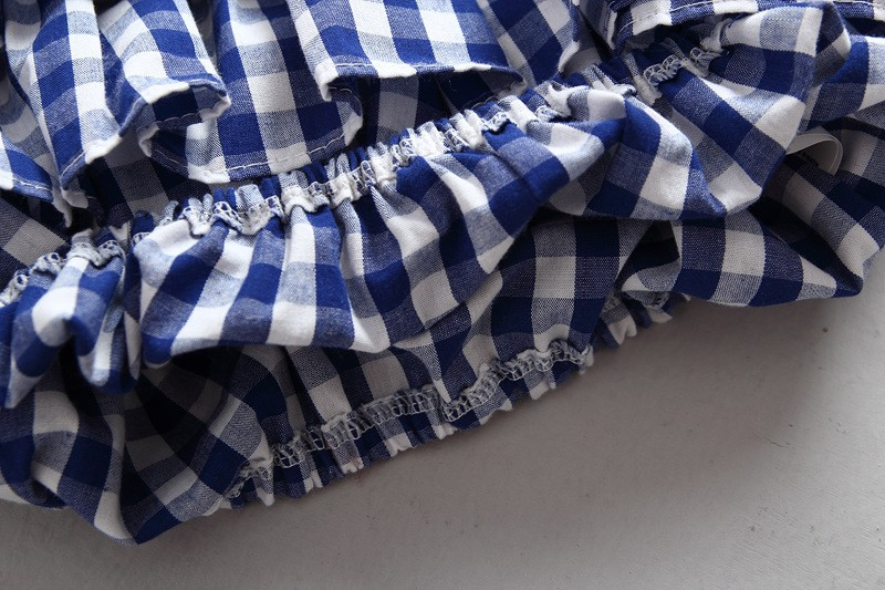 Retail Kids Cotton Blouses Baby Girls Three Quarter Pagoda Sleeve Cake Shirts Korean Casual Plaid Tops Fashion Children's Tees