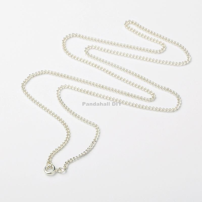 """100pcs Iron Silver Twist Chains for Necklace Making Jewelry Findings, with Brass Spring Ring Clasps, , 24""""(China (Mainland))"""