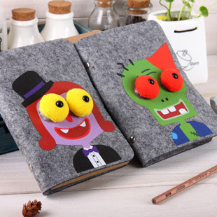 Loose-leaf notebook Cute notepad Retro diary Cartoon images of the student's notebook Creative Gift notepad Free shipping(China (Mainland))