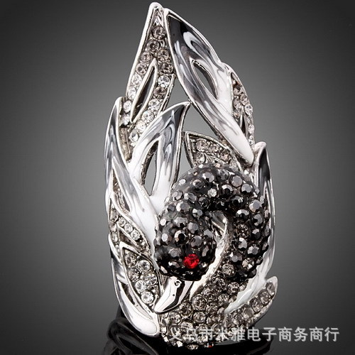 The swan Fashion jewelry vintage Stone crystal inlaid ring Platinum plated party Rings for women new Sale free shipping R185(China (Mainland))