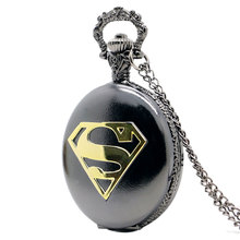 New Arrival Cool Black Case Superman Theme Pocket Watch Blue Dial Quartz Fob Watch With Chain Necklace Gift(China (Mainland))