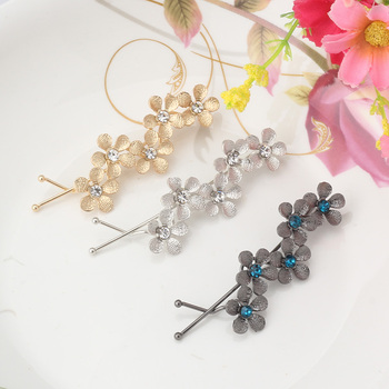 Pure Color Alloy Flower Rhinestone Hair Clip Crystal Plum Blossom Hairpin  Floral Barrettes Women Sweet Hair Accessories