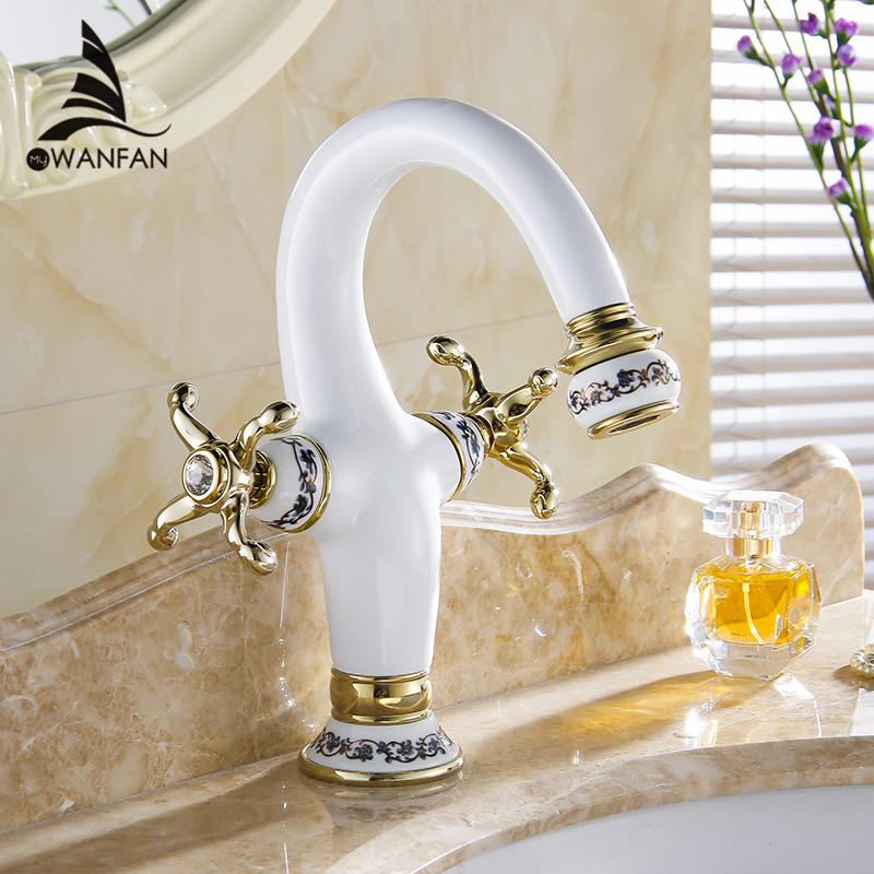 Фотография New Brass Ceramics Base Bathroom Sink Basin Faucet Golden Polished Dual Handles Single Hole Mixer Tap Deck mounted M-88501