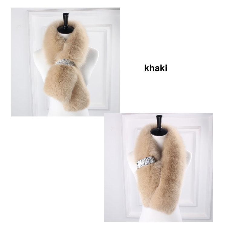 fox fur scarf khaki
