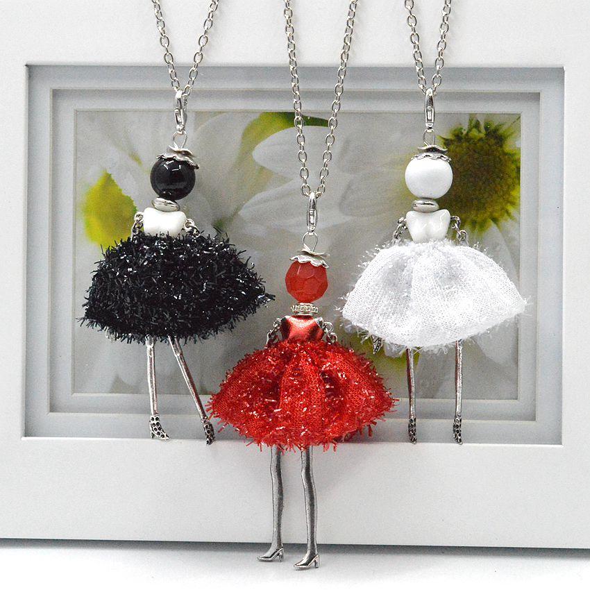 2014 New Arrival Doll Pendants Cute Girl Necklace Women Jewelry hot sale charms pendants jewelry free