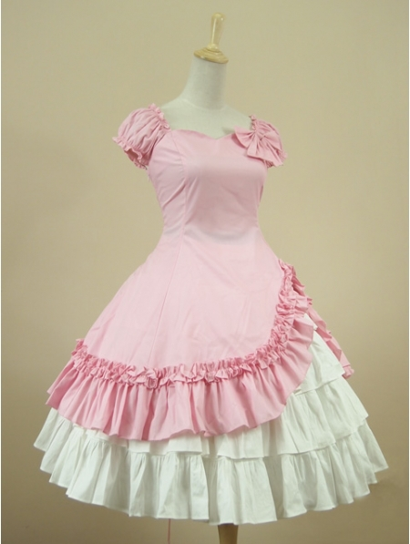 Pink Short Sleeves Classic Sweet Lolita Dress Party Gown(China (Mainland))