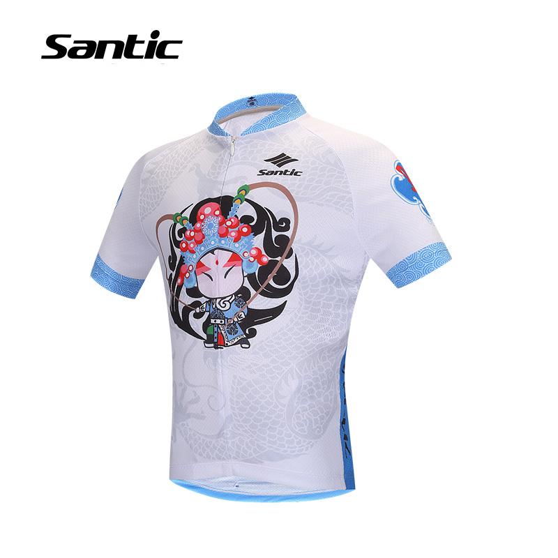 Santic Chinese Style Boys Kids Cycling Jersey Summer Short Sleeve Bike Bicycle Jersey Tops Peking Opera Print Shirt Clothing(China (Mainland))