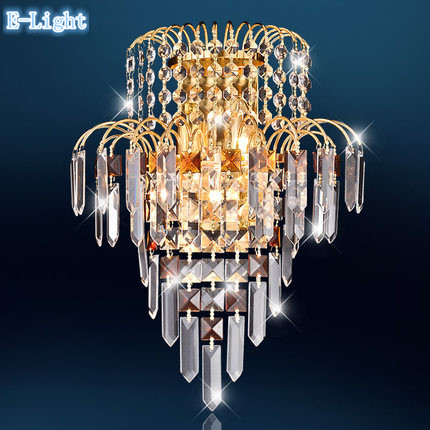 Gold Crystal wall lamp,K9 crystal + metal fixture wall mounted lights indoor lighting ac85-265v E14*2 LED Candle bulb<br><br>Aliexpress