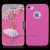 Luxury 4G Exclusive Debut Pretty Flower Bling Magnetic Flip Style Leather Wallet Hard Case Cover For iPhone 4 4S Free Shipping