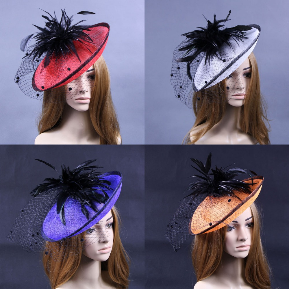 Mixed colors Sinamay Hat fascinator with Feathers,Veiling For Races,Kentucky Derby,Church,Cocktail,FREE SHIPPING(China (Mainland))