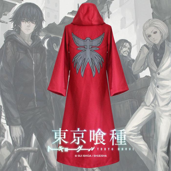 Tokyo Ghoul Ayato Kirishima Tatara Cosplay Costume Aogiri Tree Organization Cloak Uniform Red Hoodie Overcoat S-XXL - Wraith party store