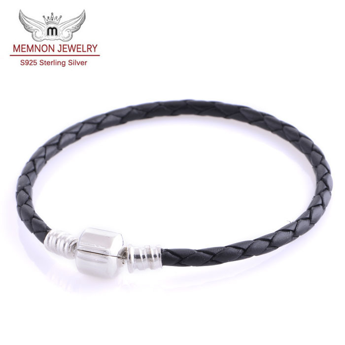 Black genuine leather bracelet without charm fits brand European charms with 925 sterling silver clasp PL001<br><br>Aliexpress