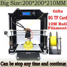 2016 Newest Big 200*200*210mm Impressora Precision Reprap Prusa i3 DIY kit 3d Printer with 10M Filament 8GB SD Card/LCD For Free