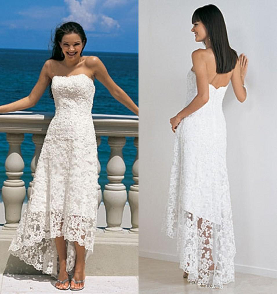 Buy beach wedding dresses high low cheap for White wedding dress cheap