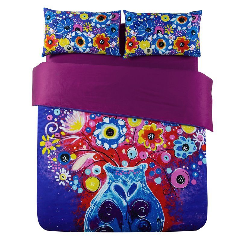 Factory Outlet! Designer Bohemian Style Bedding Set Hot Pink Royal Blue Bright Color Comforter Sets Conforter Set jogo de cama(China (Mainland))
