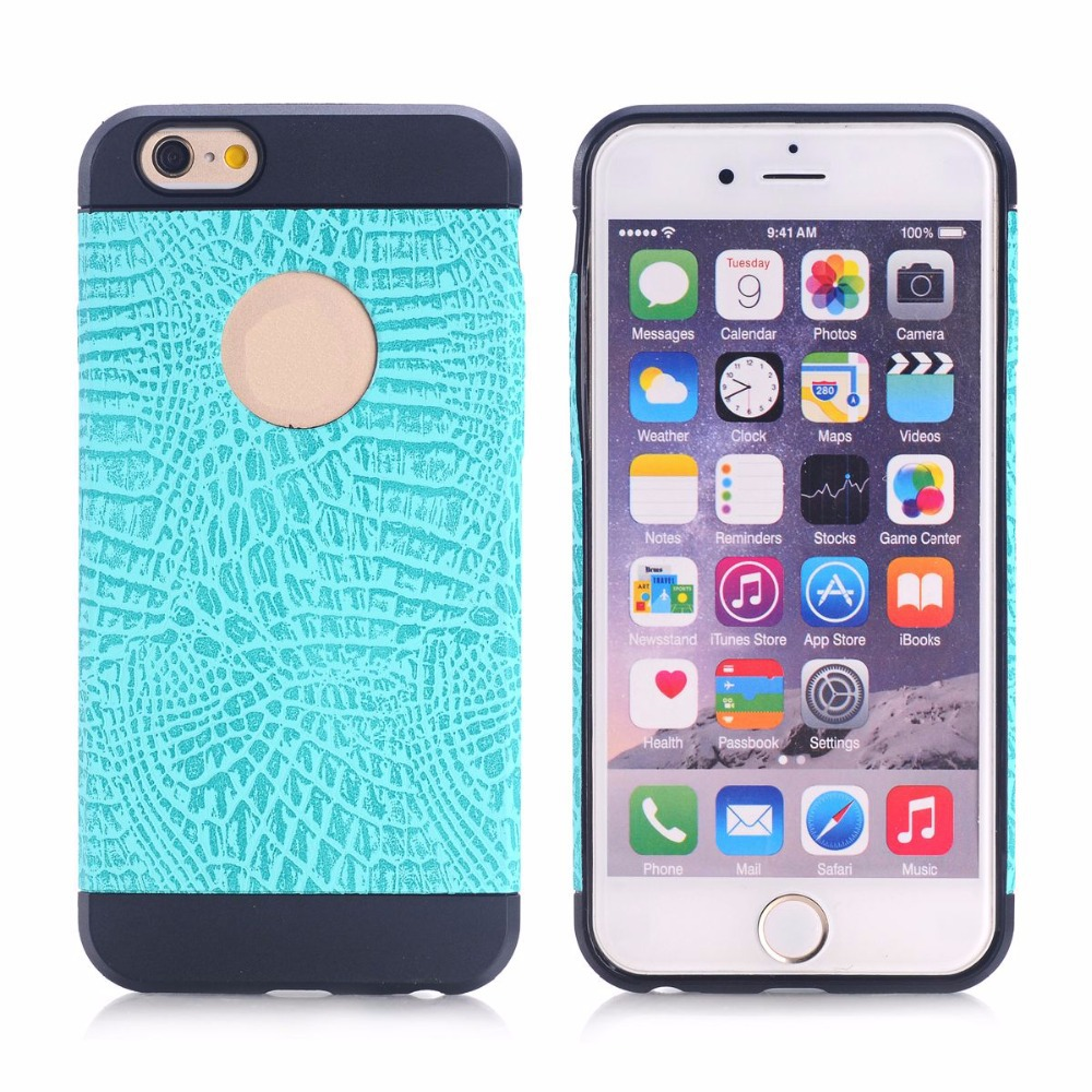 Luxury Crocodile Skin Case Soft Rubber TPU CellPhone Protective Cover W/ Logo Hole for iPhone 6 6G Plus 5G 5S iPhone6 IP6C126(China (Mainland))