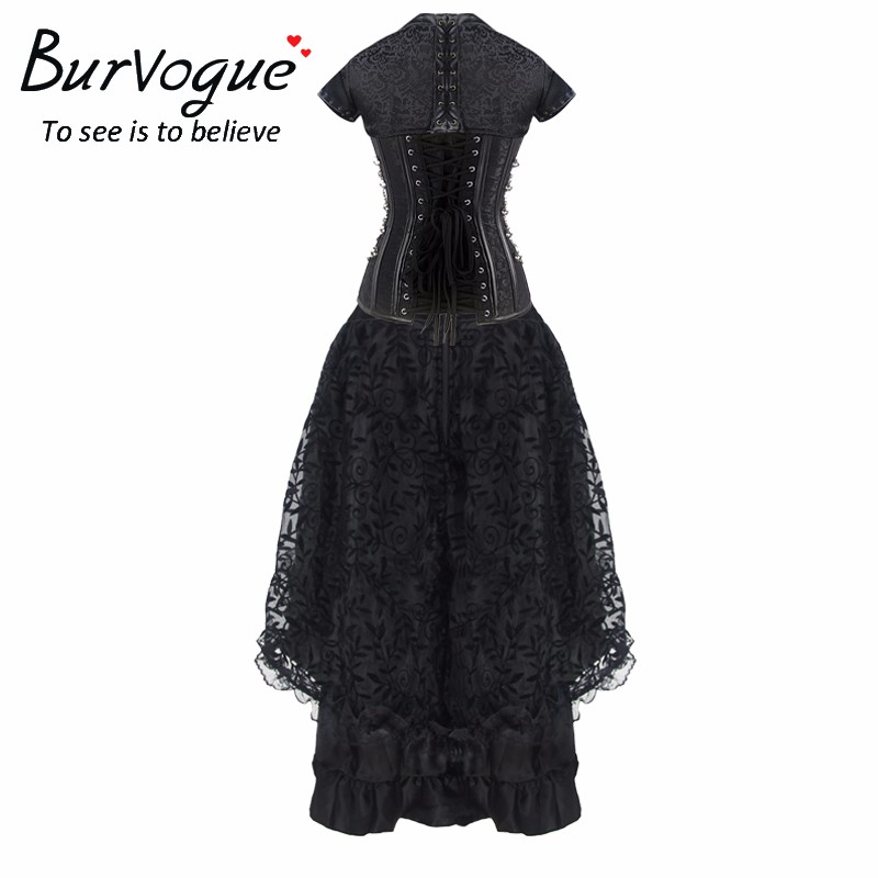 Women Steampunk Corset Dress High Waist Skirts