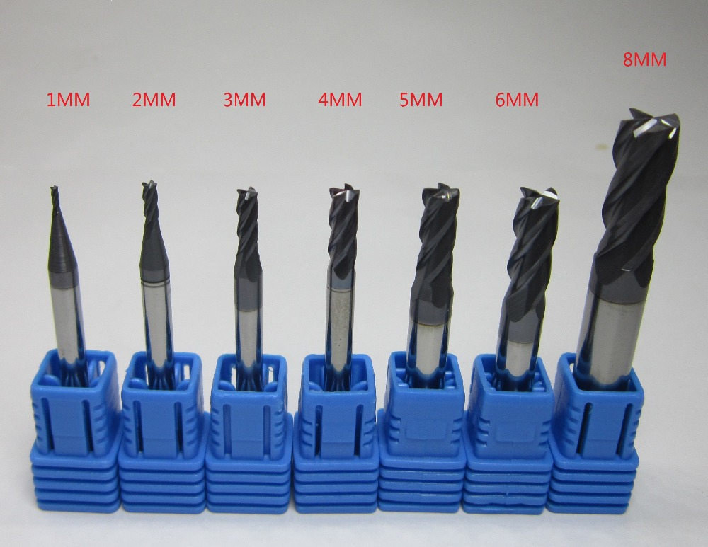7PCS four 4 flutes Tungsten Carbide End Mill / milling cutter HRC45 1mm 2mm 3mm 4mm 5mm 6mm 8MM CNC end mills set bits 45hrc(China (Mainland))