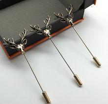 Hot Jual Unisex Hewan Populer Lucu Emas Tanduk Rusa Kepala Pin Bros Gaya Perhiasan untuk Pria(China)