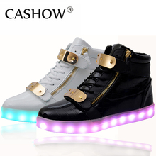 Hot Sale Men Women 8 Colors High Top LED Shoes for Adults White Black Glowing Light Up Flat Shoes Luminous Recharging Size 35-44(China (Mainland))