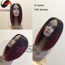 Ombre 1bTBurgundy short human hair bob wig lace front human hair bob wigs with baby hair human hair bob wigs for black women