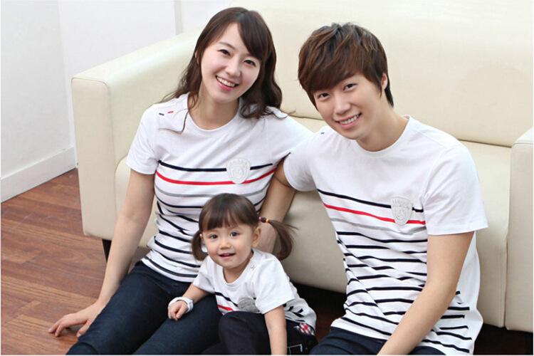 Семья соответствующие наряды лето короткий рукав полоска хлопок t рубашка семья одежда комплект для матери отец дочь и сын