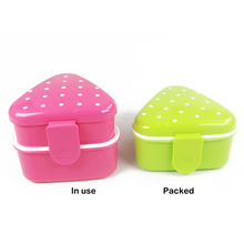 Portable Rice Ball Case Stackable 2 Layer Lunchbox Bento Lunch Box Food Container Japanese Style Food-safe Food Picnic Container