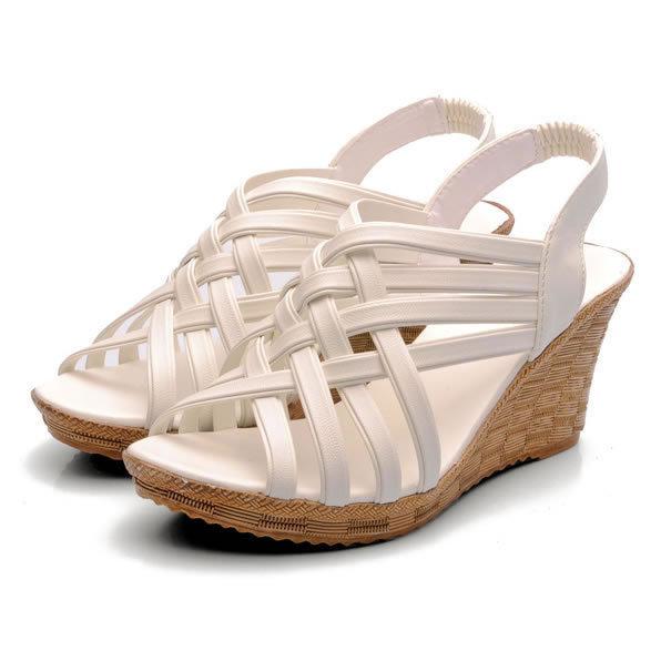 2015 fashion summer soft leather platform high heeled women sandals wedges single shoes woman open toe sandal slipper - Pink beautiful Girl store