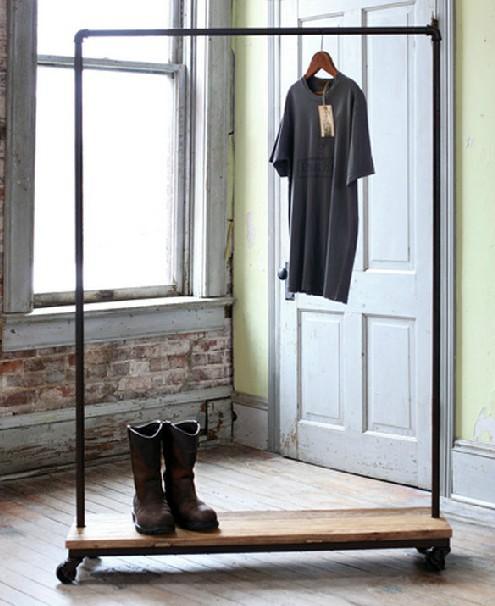 Solid wood bedroom furniture creative wrought iron coat rack hanger floor racks simple fashion vertical interior wall(China (Mainland))