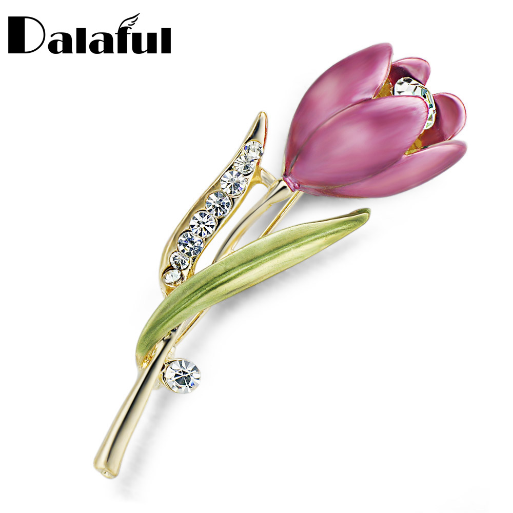 Elegant Tulip Flower Brooch Pin Rhinestone Crystal Costume Jewelry Clothes Accessories Jewelry Brooches For Wedding Z014(China (Mainland))