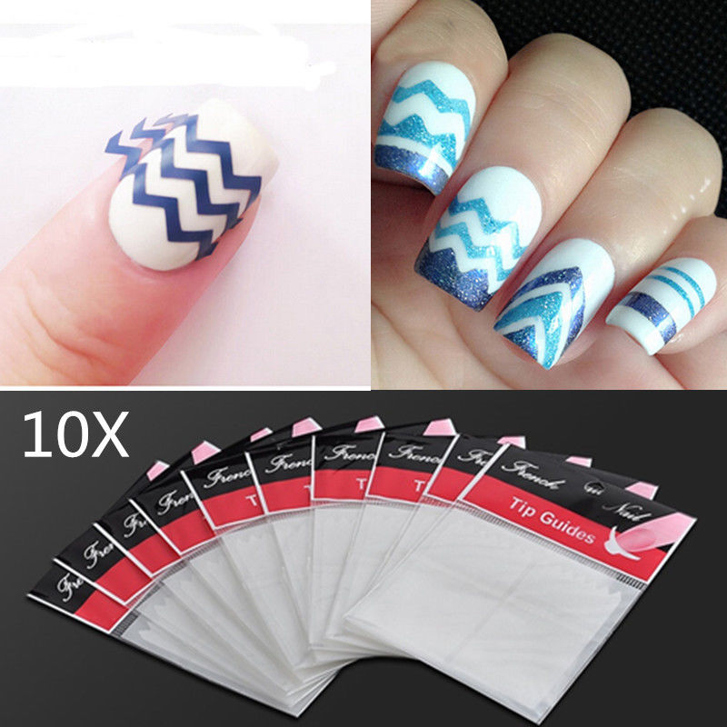 10 bags White ZiG ZaG Stencils Nail Art French Guide Tips Stickers Manicure DIY(China (Mainland))