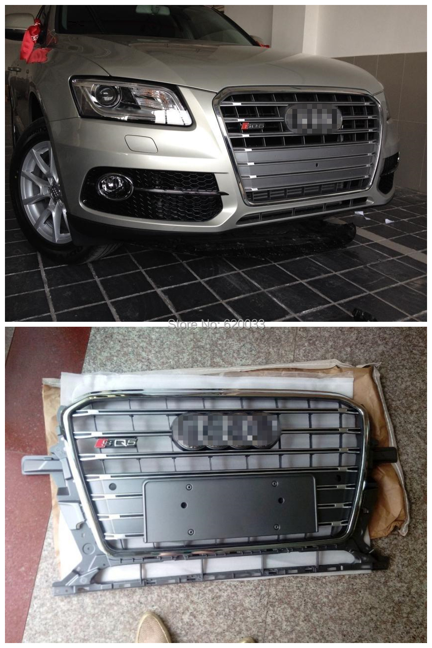 Super Quality Fits for Q5 SQ5 front bumper grill grille, Gray Painted Mesh Honerycomb grill for Q5 SQ5 2013-2014(China (Mainland))