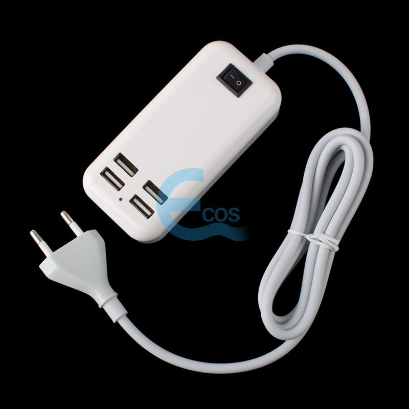 4 USB EU Plug Ports Desktop Wall Charger w/ Power Cord for Mobiel Phone Tablet #61543(China (Mainland))