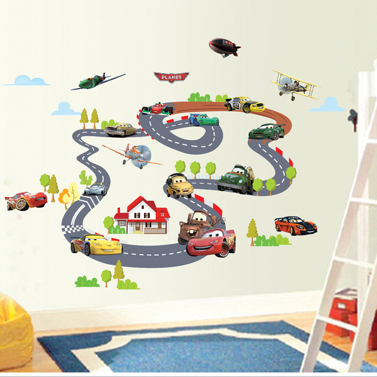 Гаджет  Hot Sale Cartoon Highway Track Car Wall Stickers Home Decoration Sticker for Kids Room Wall-paper Free Shipping 90*140cm XY1160 None Дом и Сад