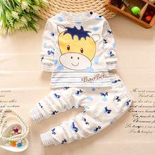 Children pure cotton round neck shoulder buckle underwear suit baby boys and girls Qiuyiqiuku baby underwear  0~2 old(China (Mainland))