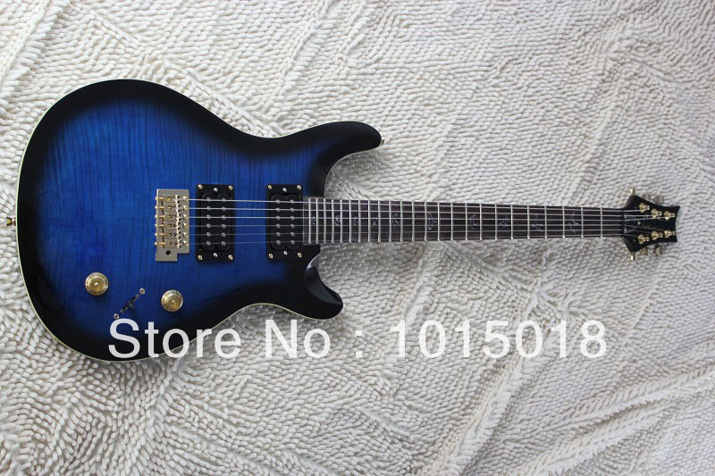 free shipping blue color golden hardware high quality electric guitar PRS MODEL guitar xiexie(China (Mainland))