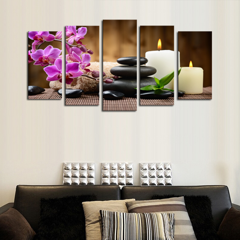 Unframed 5 Panels Purple Flowers Candle Picture Canvas Print Painting Artwork Wall Art Canvas Painting HD Print Painting(China (Mainland))