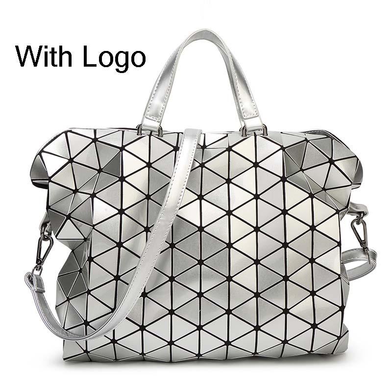 2016 New Women Fashion Gloss BAOBAO Bag Geometry Package Sequins Saser Plain Folding Handbags briefcase Shoulder Bags With logo(China (Mainland))