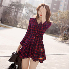 2016 New Fashion Women Lapel Long Sleeve Tartan Plaids Checks Mini Dress Casual Shirt Dresses Evening Party Gown