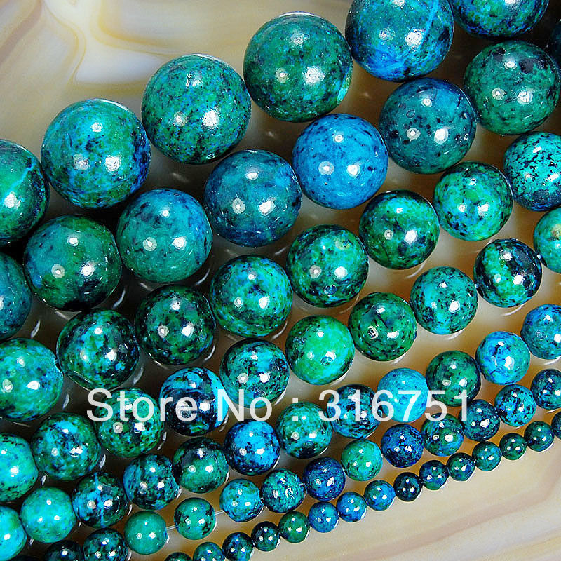 "Chrysocolla Stone Round Loose Spacer Beads 15 inch 6mm 8mm 10mm 12mm 14mm Pick Size- -F00089 - ""beads love""No minimum order store"